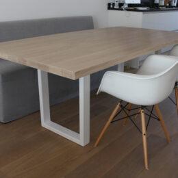 Eiken white wash tafel met stalen frame
