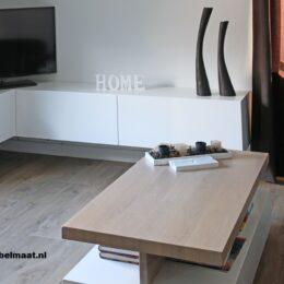 Hangend wit tvmeubel-dressoir met klep en 2 laden